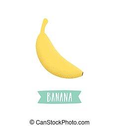 Hand drawn banana isolated on white.