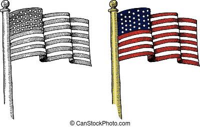 hand-drawn, bandeira estados unida