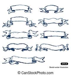 hand-drawn, baner, sätta