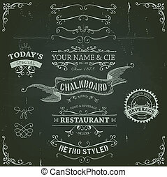 Illustration of a set of hand drawn sketched banners, ribbons for food, restaurant and beverage design elements on chalkboard background