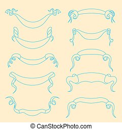 Hand-drawn banners set. Vector illustration isolated on white