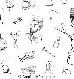 Hand drawn barbershop seamless pattern with accessories comb, razor, shaving brush, scissors, hairdryer, barber s pole and bottle spray. Outline vector pattern on white background.