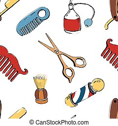 Hand drawn barbershop seamless with accessories comb, razor, shaving brush, scissors, barber s pole and bottle spray. Colorful vector illustration pattern on white background.