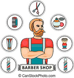 Hand-drawn barbershop set with barber and tools