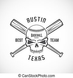 Hand Drawn Baseball Team Logo Template. Skull and Crossed Bats Sign. Ball Head Concept. Sport Emblem with Premium Typography.
