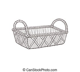 hand drawn basket vector illustration