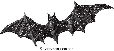 Hand drawn bat with open wings isolated on white background. Pencil drawing. Scary Halloween collection.