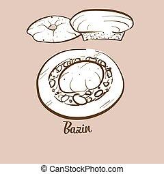 Hand-drawn Bazin bread illustration. Flatbread, usually ...