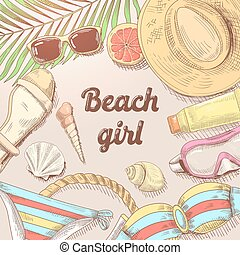 Hand Drawn Beach Vacation Doodle. Summer Time Woman Fashion. Vector illustration