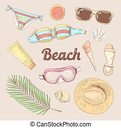 Hand Drawn Beach Vacation Doodle. Summer Time Tourism Fashion. Vector illustration
