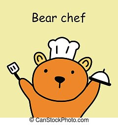 Hand drawn Bear Cooking cartoon