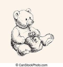 Hand drawn bear toy vector illustration