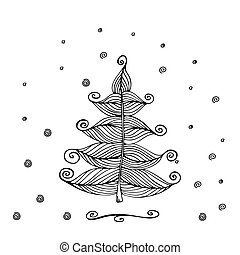 Hand Drawn Beautiful christmas tree