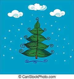 Hand Drawn Beautiful christmas tree.