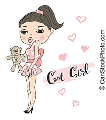 Hand drawn beautiful cute girl with a teddy bear. Vector illustration
