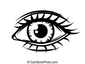 Hand-drawn beautiful female eye.