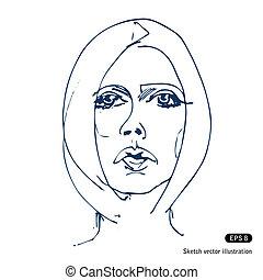 Hand-drawn beautiful woman