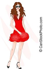 Hand drawn beautiful young woman with curly hair. Fashion woman. Stylish cute girl in sunglasses. Sketch. Fashion illustration. Girl in red coctail dress.