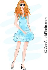 Hand drawn beautiful young woman with curly red hair. Fashion woman. Stylish cute girl in sunglasses. Sketch. Fashion illustration. Redheaded girl in blue coctail dress.