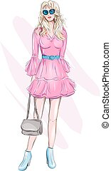 Hand drawn beautiful young woman with handbag. Fashion woman. Stylish cute girl in sunglasses. Sketch. Fashion illustration. Girl in pink dress.