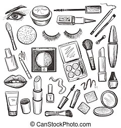Hand drawn Beauty and makeup icons set with mascara,...