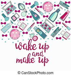 pattern of MakeUp, beauty, cosmetic product and Calligraphy...