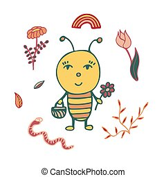 Hand-drawn bee the gardener with a basket and a flower.