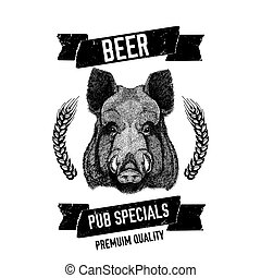 hand drawn beer emblem with wild hog boar pig template for badge