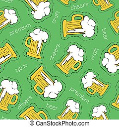 Hand drawn beer patch icon seamless pattern