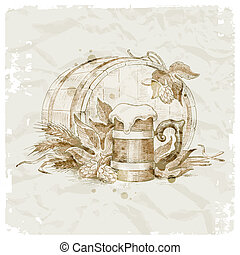 Grunge vector illustration - hand drawn still life with hop, mug of beer and wheat