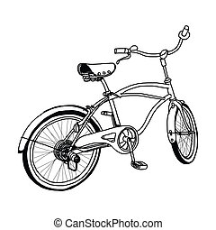 hand-drawn, bicicletta