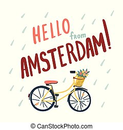 Hand drawn bicycle in Amsterdam. Doodle style illustration