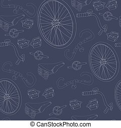 Hand Drawn Bicycle Seamless Pattern