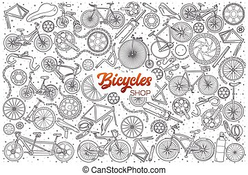 Hand drawn bicycles shop set with lettering