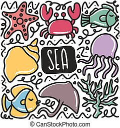 hand drawn biota sea doodle set with icons and design elements