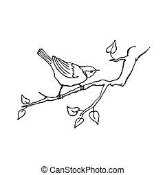 hand drawn bird - Hand drawn bird sitting on branch isolated...