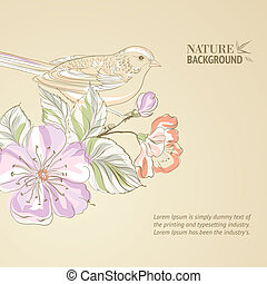 Hand drawn bird on sacura branch. Vector illustration,...