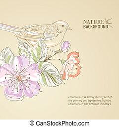 Hand drawn bird on sacura branch.