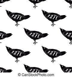 Hand drawn bird pattern seamless.