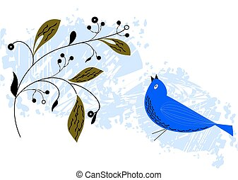 Hand drawn bird with branch.
