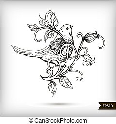 Hand drawn bird with flowers