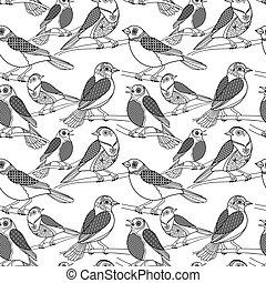 Hand drawn birds seamless pattern