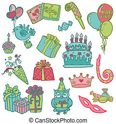 Hand drawn Birthday Celebration Design Elements - for Scrapbook, Invitation in vector