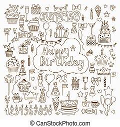 Hand drawn Birthday elements. Set of vector birthday party eleme