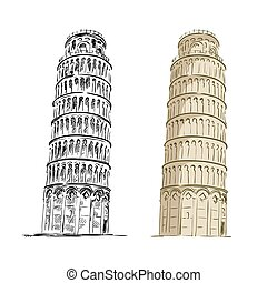 hand drawn black and color sketch of Leaning tower of Pisa on a white background