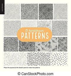 Hand drawn black and white 15 patterns set