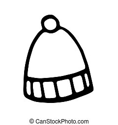 Hand drawn black and white doodle sketch winter cap illustration.
