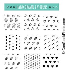 Hand drawn black and white pattern, simple clean style -...
