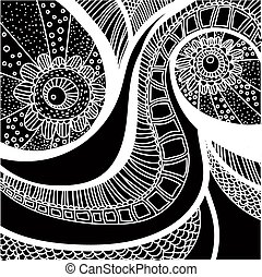 Hand drawn black and white seamless pattern.
