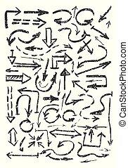 Hand drawn black arrows